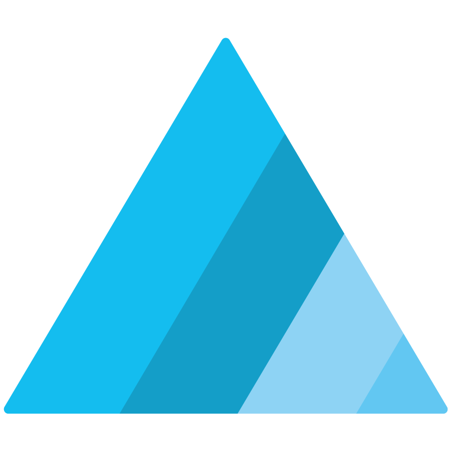 Equity Barriers icon with blue spectrum colors in a triangle