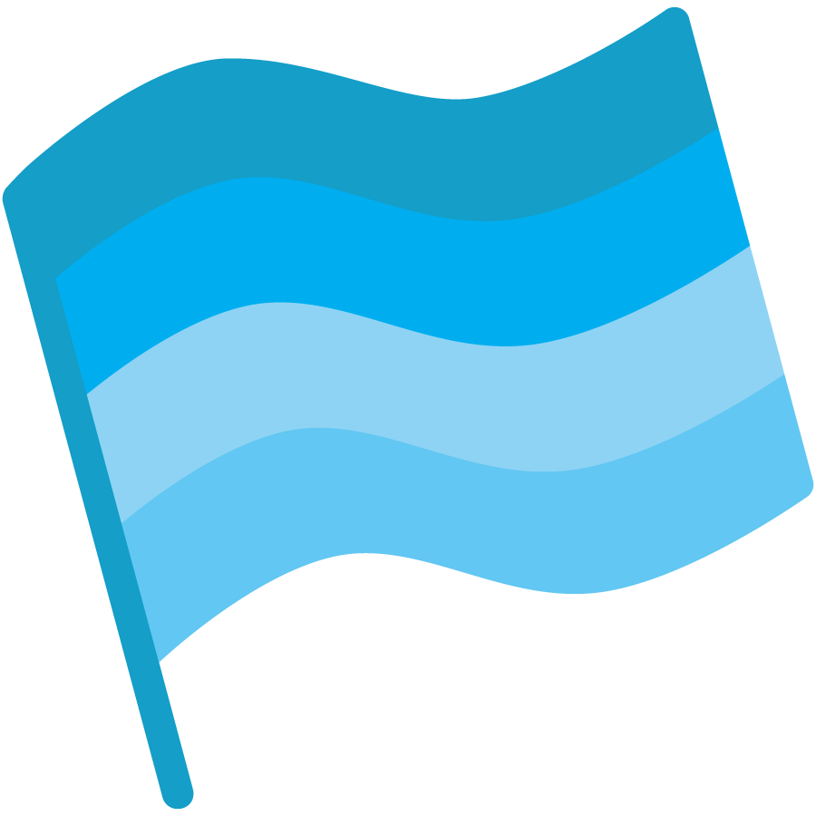 Key Findings icon - a blue spectrum cartoon flag