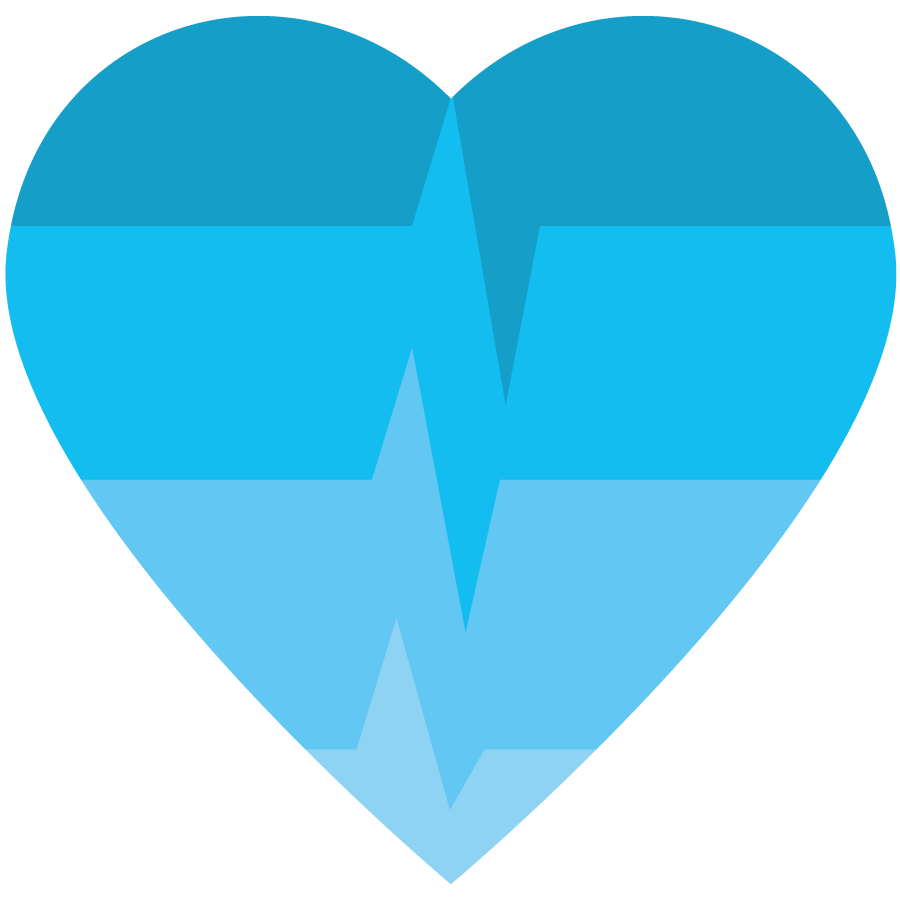 Pandemic Response icon with blue spectrum colors in a heart-beat pattern